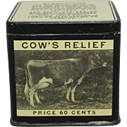 "Rare ""O-H Cow's Relief"" Veterinary Tin"