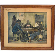 "Turn of Century Colored Lithograph Print ""A Skin Game"" Framed"