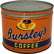 "Vintage ""Bursley's"" 1 lb. Coffee Tin"