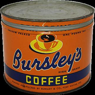 "Vintage ""Bursley's"" 1 lb. Coffee Tin"