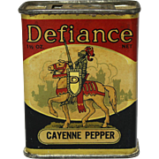 "Early ""Defiance"" Cayenne Pepper Litho Spice Tin"