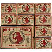 "Vintage 12 Count ""Knight Brand"" Safety Matches"