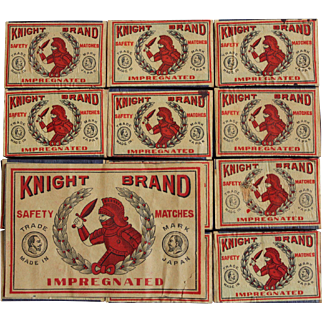 """Vintage 12 Count """"Knight Brand"""" Safety Matches"""