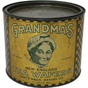 "Vintage ""Grandma's Tea Wafers"" Litho Tin"