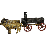 Early Kenton Cast Iron 2 Oxen Log Wagon