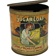 "Primitive Old ""Sugar Loaf"" Hominy Grocery Tin Can"
