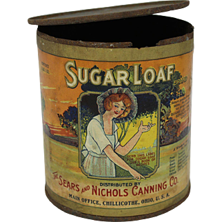 """Primitive Old """"Sugar Loaf"""" Hominy Grocery Tin Can"""