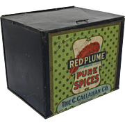 "Vintage ""Red Plume Pure Spices"" Counter Display Bin"
