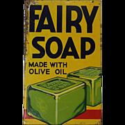 "Rare Vintage English ""Fairy Soap"" Litho Tin Sign"