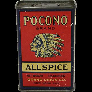 "Vintage ""Pocono"" Litho Spice Tin"