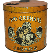 "1917 ""Two Orphans"" Cigar Humidor Litho Tin"