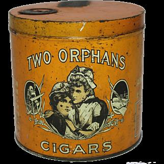 """1917 """"Two Orphans"""" Cigar Humidor Litho Tin"""