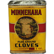 "1930's, 40's ""Minnehaha"" Cloves Spice Container"