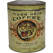"Rare Turn of the Century ""Tiger Head"" 2 lb. Coffee Tin"