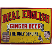 "1920's ""Real English Ginger Beer"" Embossed Tin Sign"