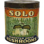 """Vintage """"Solo"""" Imported Dried Mushrooms Litho Tin"""