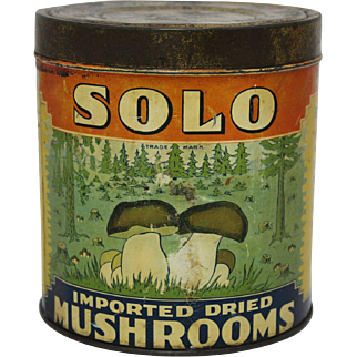 "Vintage ""Solo"" Imported Dried Mushrooms Litho Tin"