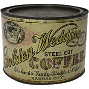 "Early 1900's ""Golden Wedding"" Coffee Tin"