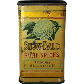 "Early 1900's  ""Snow-Ball"" Spice Litho Tin"
