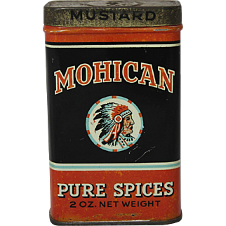 """Vintage """"Mohican"""" Mustard Spice Litho Tin"""