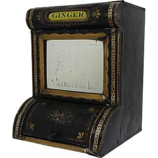 Late 1800's General Store Tin Spice Bin with Mirror