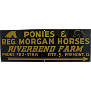 1950's 'Riverbend Horse Farm' Metal Roadside Sign