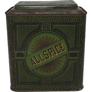 Late 1800's Allspice Litho Counter Top Store Bin