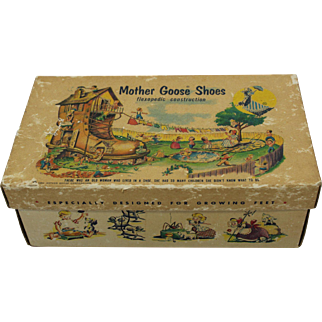 "1950's ""Mother Goose Children's Shoes"" Cardboard Box"