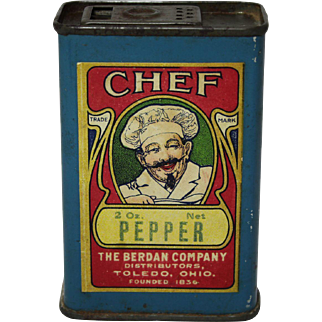 "Scarce Early ""Chef Brand"" Pepper Spice Tin"