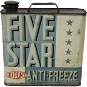 1940's  Dupont  'Five Star' Anti-Freeze One Gallon Can