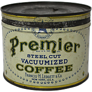 "1930's 'Premier"" Brand Key Wind Coffee Tin"