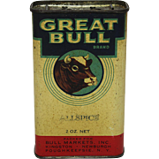 Rare 'Great Bull Brand' Litho Spice Tin