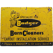1950'S 'Badger Barn Cleaner' Embossed Metal Sign