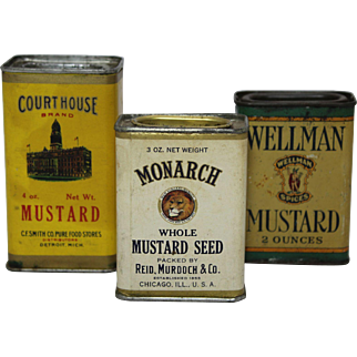 Three Assorted Vintage (Mustard) Spice Containers