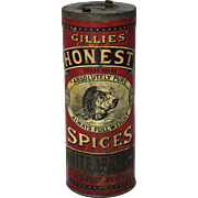 Early 1900's Gillies Honest Spice White Pepper Spice Container