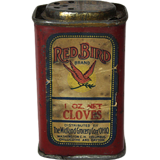 Early 1900's Red Bird Brand Cloves Spice Tin