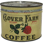 1930's, 40's Clover Farm Key-Wind Coffee Tin