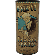 Early 1900's 'Rock-Co' Cocoa Powder Container