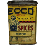Early 1900's Wisconsin Ecco Brand Spice Container
