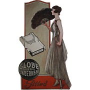 Late Teens, 1920's Globe Tailor Made Underwear for Women Cardboard Store Display Sign