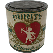 "Early Ohio ""Purity Tomatoes"" Food Tin with Embossed Paper Label"