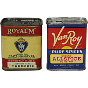 "Priced as Pair: 'Van Roy' & 'Royal ""M"" Brand ' Vintage Spice Tins"