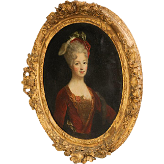 Antique Oval Portrait of Woman In Red