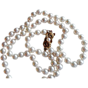 """Estate 19.75"""" MIKIMOTO Cultured Pearl Necklace with 18K Gold Clasp!"""