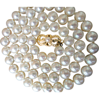 "Vintage 18K Mikimoto 18.25""; 6.5 – 6.0 mm Cultured Pearls! Original Hang Tag!"