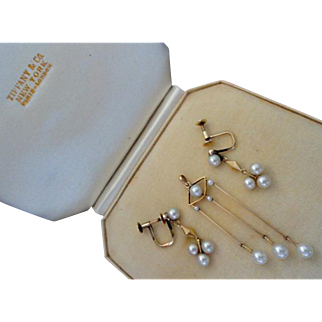 Rare Art Deco Gold Mikimoto Cultured Pearl Pendant & Earring Set!