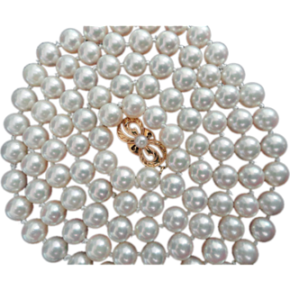 "Vintage MIKIMOTO 30.25"" Cultured Pearl Necklace 18K Gold 6.5-6.25 mm!"