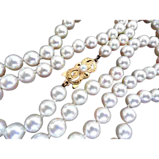 "Gorgeous MIKIMOTO Cultured Pearl Necklace 18K; 25"" Long; 6.5-6.06mm!"