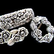 Vintage Molded Celluloid Floral Parure- Wedding Cake Clamper Bracelet, Brooch & Earrings