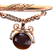 Signed 1910 Antique Filigree Brooch with Carved Carnelian!  Edwardian!